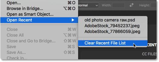 Выбор Очистить список последних файлов в Photoshop.  Image © 2016 Стив Паттерсон, Photoshop Essentials.com