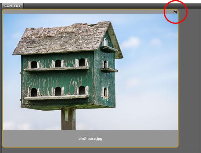 Adobe Bridge показывает значок обрезки на миниатюре изображения.  Image © 2013 Стив Паттерсон, Photoshop Essentials.com
