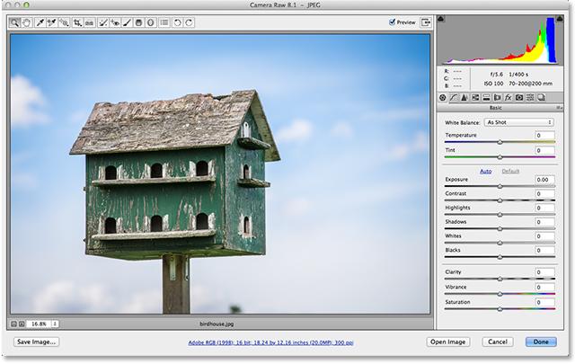 Файл JPEG, открытый в Adobe Camera Raw 8. Image © 2013 Стив Паттерсон, Photoshop Essentials.com
