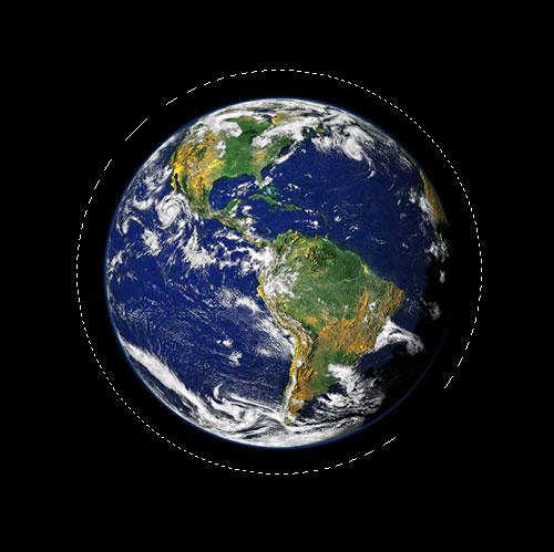 Adobe Photoshop Text Effects: изображение после перетаскивания эллиптического выделения вокруг планеты.