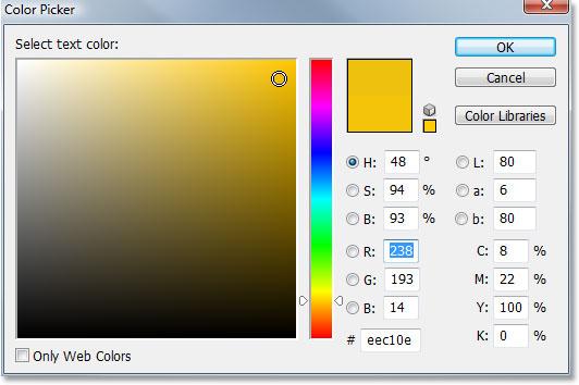Текстовые эффекты Adobe Photoshop: выбор цвета для моего текста в палитре цветов Photoshop.