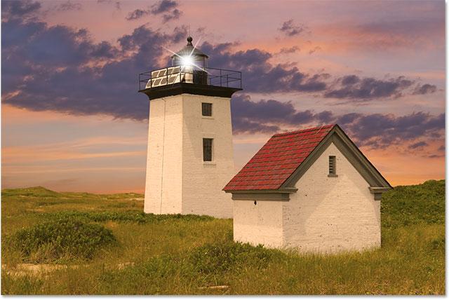 Wood End маяк в Провинстаун, штат Массачусетс, США.  Изображение получено по лицензии от Shutterstock от Photoshop Essentials.com