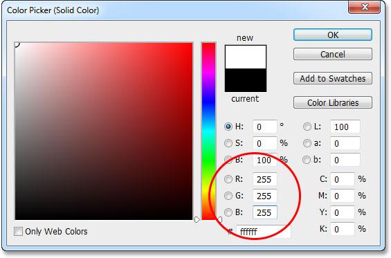 Выбор слоя заливки сплошным цветом на панели «Слои».