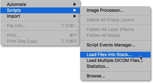 Выбор команды «Загрузить файлы в стек» из меню «Файл».