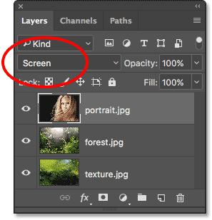 Изменение режима наложения слоя на Screen.