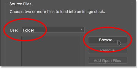 Установите для параметра «Использовать» значение «Папка», затем нажмите кнопку «Обзор».