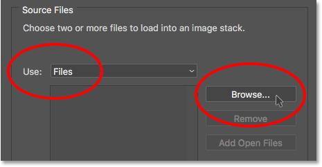 Изменив параметр «Использовать» на «Файлы», затем нажмите кнопку «Обзор».