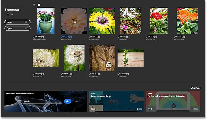 Выбор изображения из списка последних файлов.  Image © 2016 Стив Паттерсон, Photoshop Essentials.com
