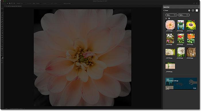 Панель «Последние файлы» отображается вместо других панелей Photoshop.  Image © 2016 Стив Паттерсон, Photoshop Essentials.com