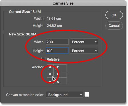 Диалоговое окно «Размер холста» в Photoshop.