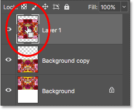 Нажав на эскиз предварительного просмотра для слоя 1 на панели слоев в Photoshop.