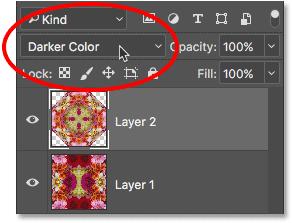 Изменение режима наложения верхнего слоя на более темный цвет.
