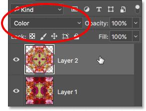 Выбрав Layer 2 и изменив его режим наложения на Color.