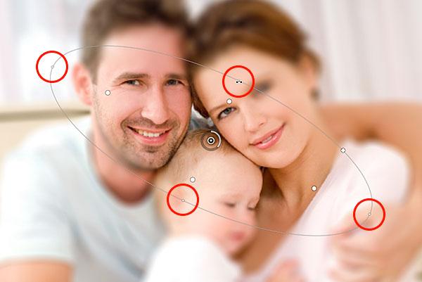 Изменение формы и вращение линии.  Изображение © 2012 Photoshop Essentials.com