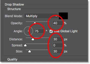 Настройка параметров «Тень» в диалоговом окне «Стиль слоя»