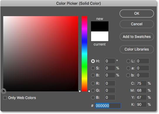 Выбор черного цвета в палитре цветов в качестве нового цвета фона для изображения в текстовом эффекте