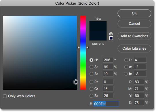 Выбор более темного оттенка синего цвета в палитре цветов