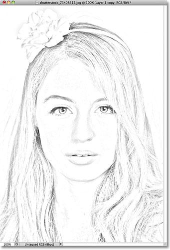 Фотошоп фото на карандашный рисунок эффект.  Image © 2011 Photoshop Essentials.com.