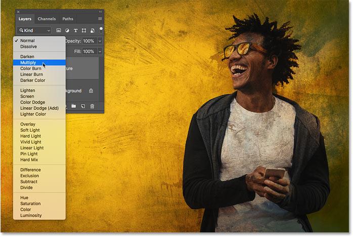 Предварительный просмотр режима смешивания Multiply в Photoshop CC 2019