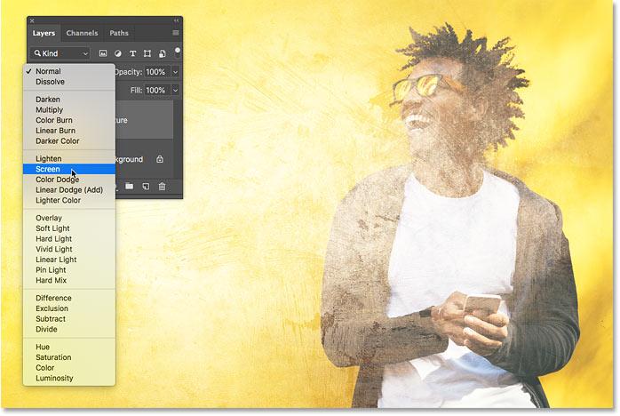 Предварительный просмотр режима наложения экрана в Photoshop CC 2019