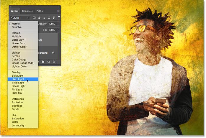 Предварительный просмотр режима наложения Hard Light в Photoshop CC 2019