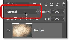 Параметр режима наложения слоев на панели «Слои» в Photoshop CC 2019