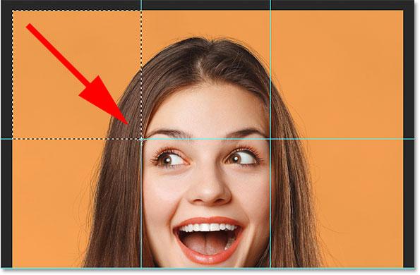 Выделение квадрата в верхнем левом углу изображения.