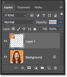 Панель «Слои», показывающая квадрат, скопированный в его собственный слой в Photoshop