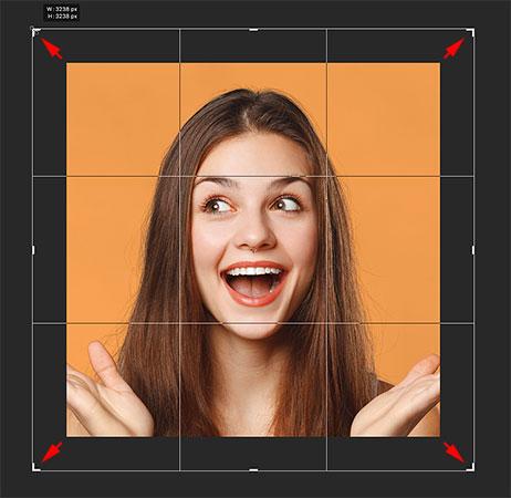Добавление большего пространства холста с помощью инструмента Crop в Photoshop