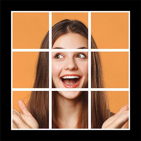 Результат после вставки эффекта слоя обводки на оставшиеся квадраты в Photoshop