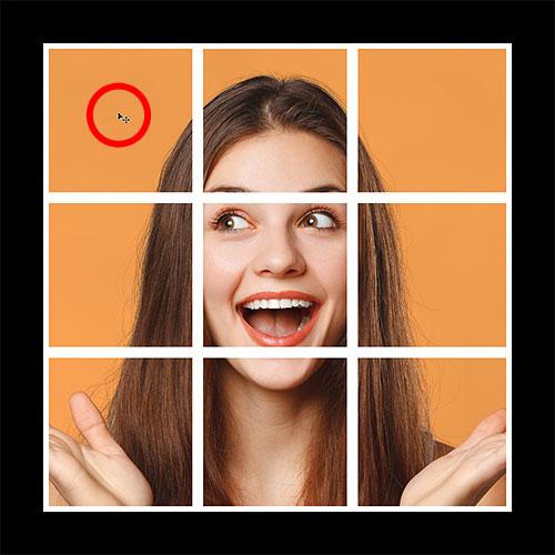 Выбор верхнего левого квадрата в фотоколлаже в Photoshop