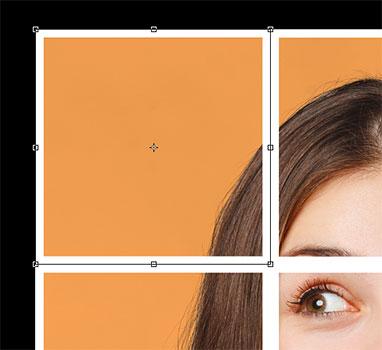 Дескрипторы Free Transform появляются вокруг первого квадрата в коллаже.