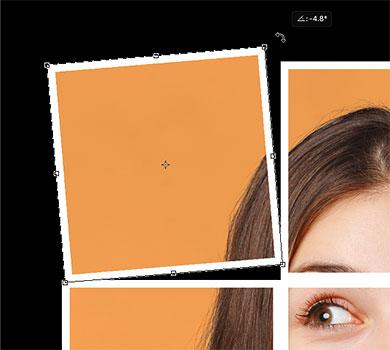 Перемещение и вращение первого квадрата в фотоколлаже