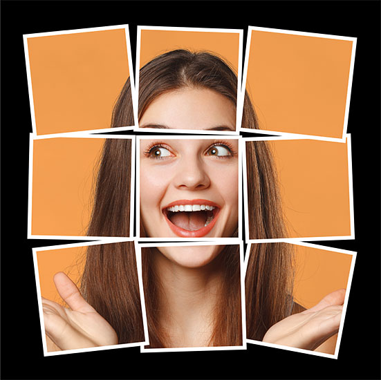 Квадратный фотоколлаж на черном фоне, созданный в фотошопе