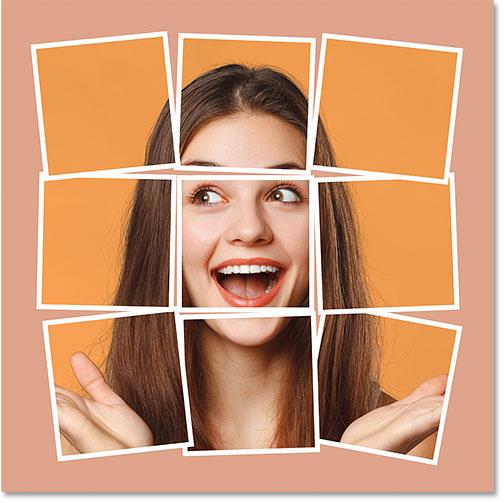Фотоколлаж фотошопа с цветом фона, взятым из изображения
