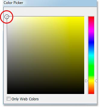 Выбор белого цвета в палитре Photoshop.