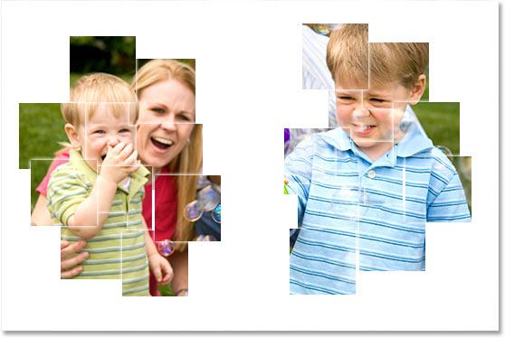 Мама мальчика и младший брат теперь видны внутри квадратов.