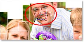 Использование команды «Свободное преобразование» в Photoshop для изменения размера квадратной маски на 50%.