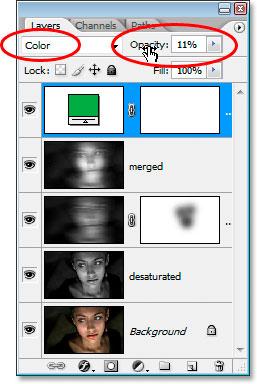Измените режим смешивания на Color и уменьшите непрозрачность