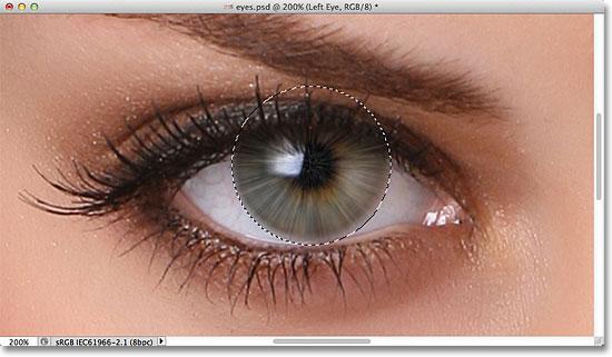 Изображение после применения фильтра Radial Blur к глазу.