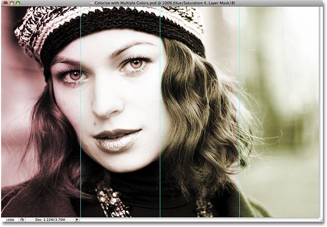 Все четыре раздела изображения теперь раскрашены в Photoshop.