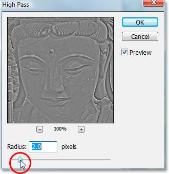 Диалоговое окно фильтра «High Pass» в Photoshop.