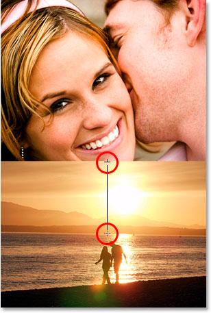 Перетаскивая градиент от чуть ниже верхней части фотографии пляжа до чуть выше ватерлинии.