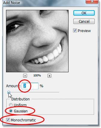 Диалоговое окно «Добавить шум» в Photoshop.