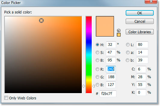 Выбор цвета в Photoshop.