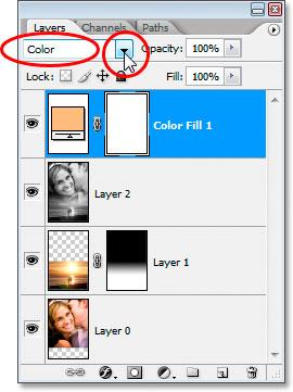 Изменение режима наложения слоя заливки «Сплошной цвет» на «Цвет».