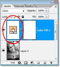 Цветовой образец слоя заливки сплошным цветом в палитре слоев.