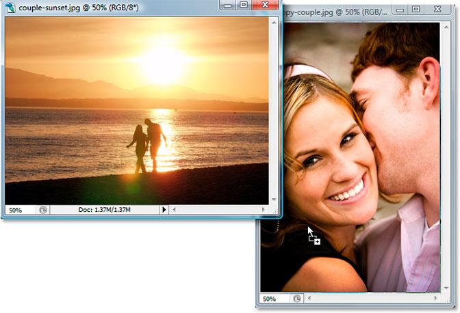 Перетаскивание фотографий.  Изображение © 2007 Photoshop Essentials.com ..