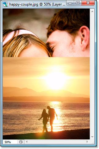 Оба изображения в одном окне документа в Photoshop.  Image © 2007 Photoshop Essentials.com.