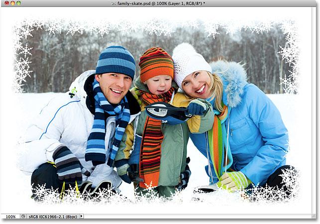 Граница фото снежинки, созданная в Photoshop.